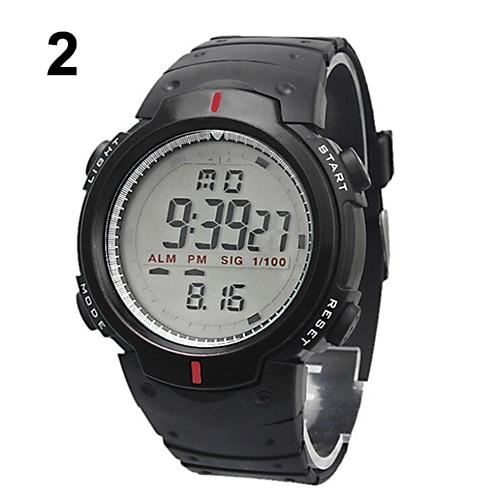 2015 Jaunu vīriešu sieviešu ūdensnecaurlaidīgais LCD digitālais hronometrs Datums Gumijas sporta rokas pulkstenis 5DIM 5V4K AJLF C2K5W