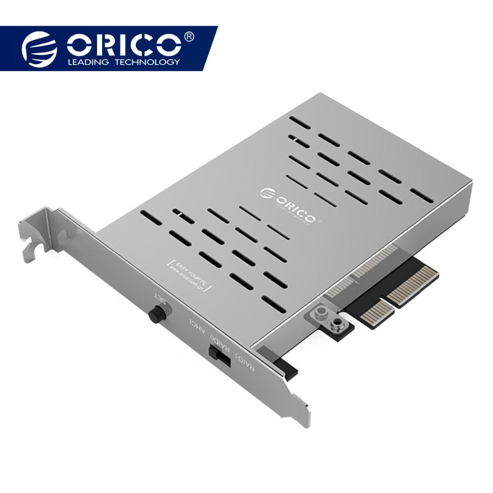 ORICO PRS2 Desktop Disk Array Card PCI-E M.2 SSD Rustfritt Stål High Speed ​​Raid Harddisk Utvidelseskort