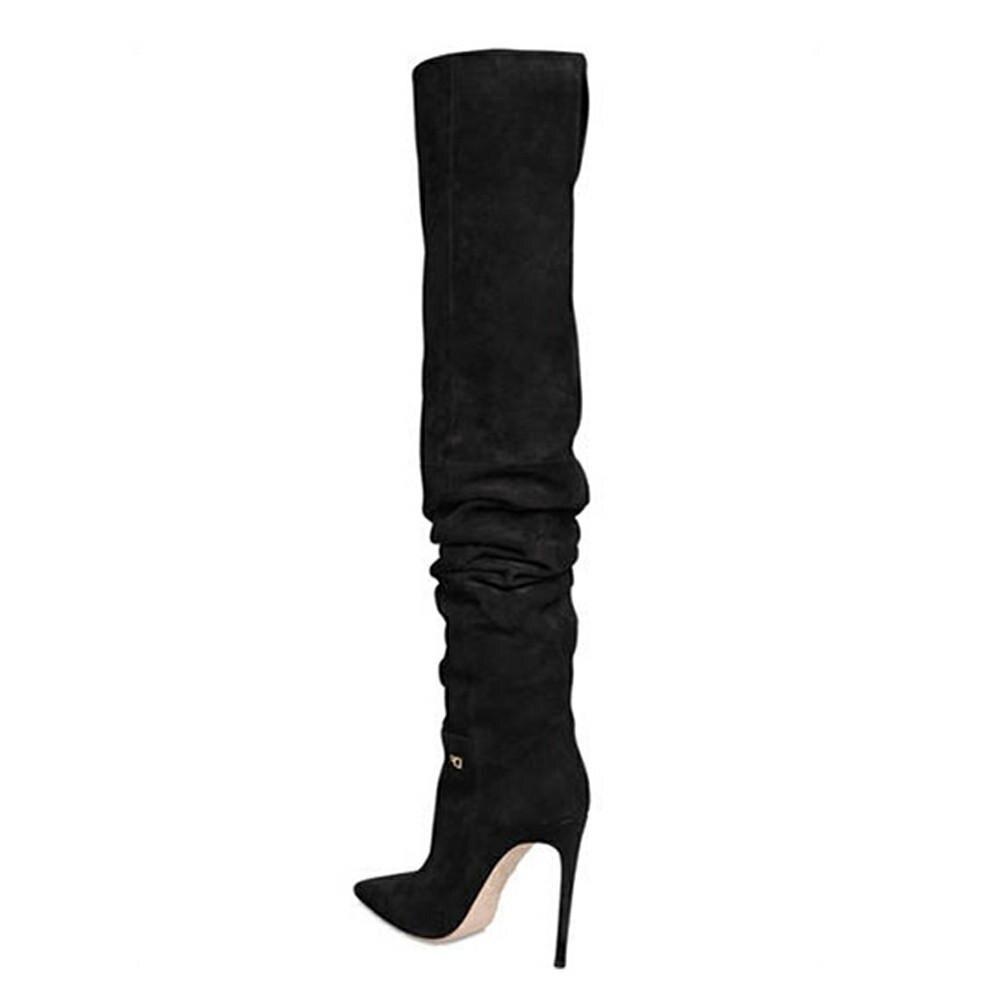Comprar SARAIRIS las mujeres hasta la rodilla botas Sexy tacón alto  puntiagudo dedo del pie zapatos fiesta zapatos 6f0470cc791e