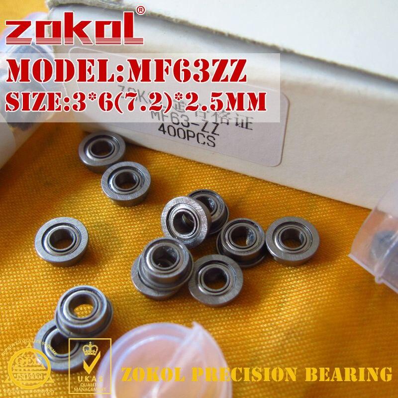 ZOKOL MF63 ZZ Bearing MF63ZZ Flange Bearing MF63-ZZ Deep Groove Ball Bearing 3*6(7.2)*2.5mm