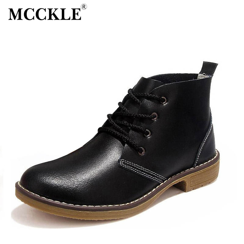 где купить MCCKLE Women's Fashion Genuine Leather Classical Lace Up Ankle Martin Boots Ladies Sewing Style Low Heel Spring Autumn Shoes по лучшей цене