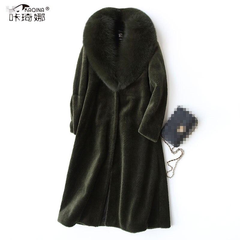 Manteaux Col Vêtements Renard De Green navy Laine black Manteau Abrigo 2018 My836 Réel Mujer Long army Caramel Veste Coréenne Hiver Femmes Fourrure Color Automne 100 670SwqA