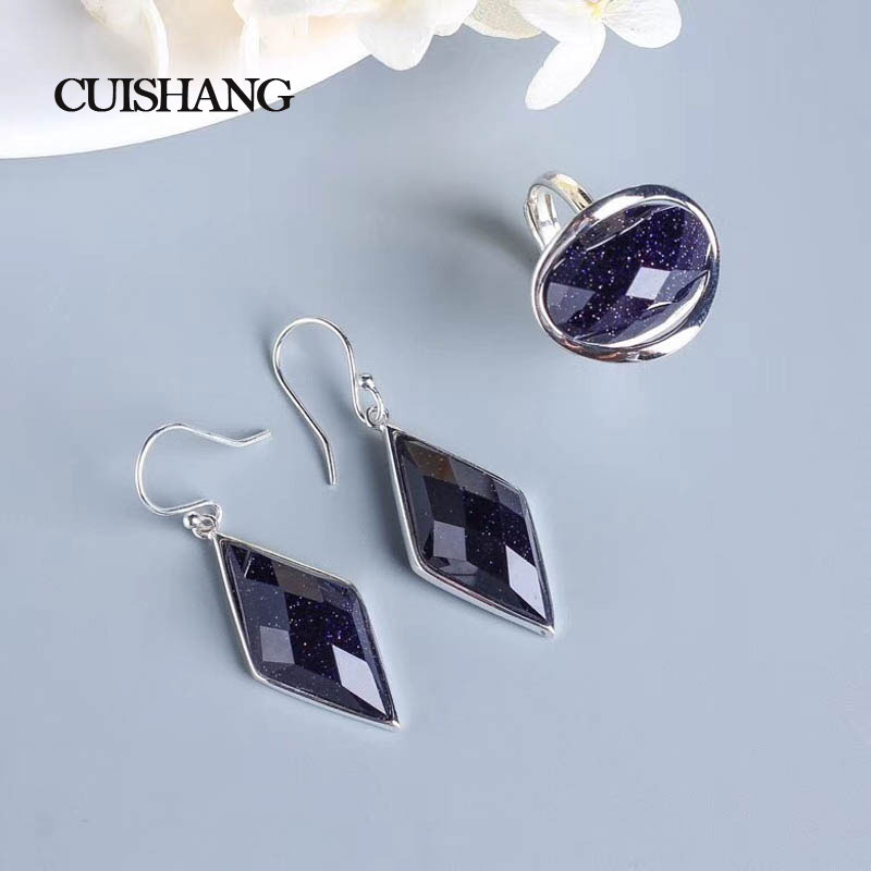 CSJ 925 Sterling Silver Fashion Fine Jewelry Sets Ring Blue Sand Stone Wedding Engagement Fine Jewelry Party Valentines gift CSJ 925 Sterling Silver Fashion Fine Jewelry Sets Ring Blue Sand Stone Wedding Engagement Fine Jewelry Party Valentines gift