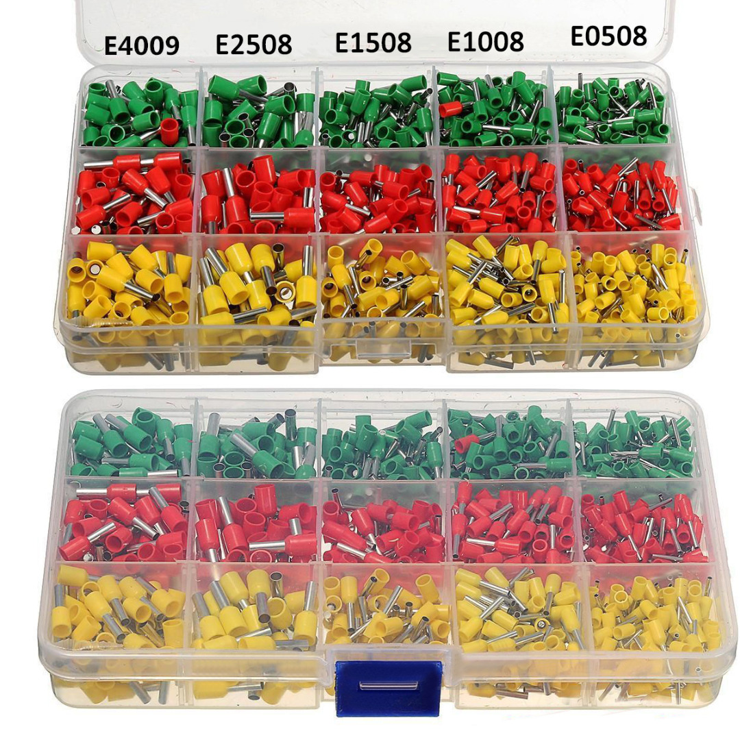 990pcs Wire Crimp Connector Terminal Kit Set with Ferrule Crimper Plier Yellow Red Green toozo terminal crimping tool bootlace ferrule crimper wire end cord pliers 0 25 6 square millimeter