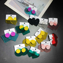 New Japanese Korean Stlye Harajuku Transparent Multicolor Love Round  Triangle Square Geometric Acrylic Stud Earrings For Women