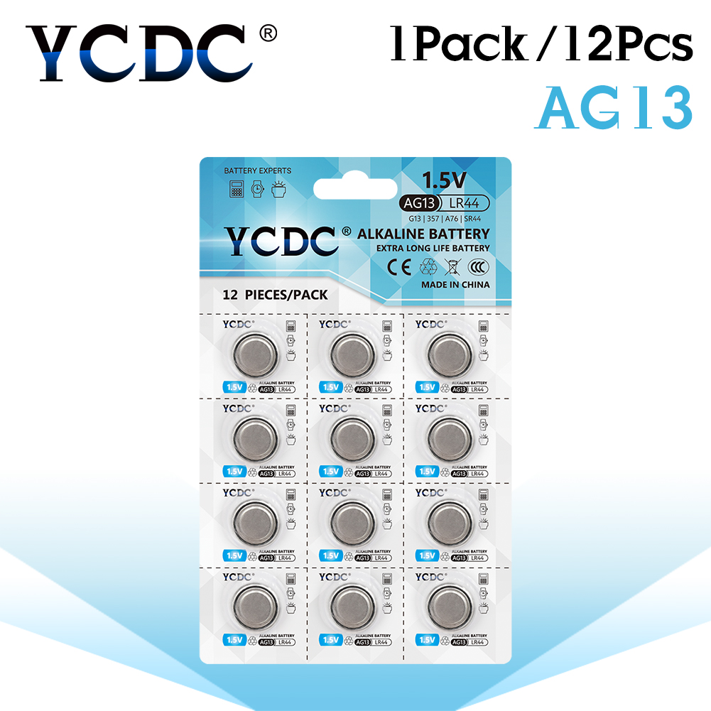 YCDC AG 13 12pcs/1Card 1.5V Coin Cell <font><b>Battery</b></font> for Toys Watch Calculator LR44 <font><b>357</b></font> 357A S76E SR1154 AG13 Alkaline Button <font><b>Battery</b></font>