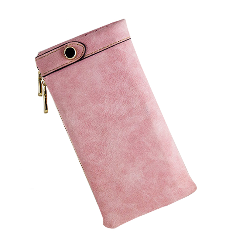 Female Purse Women Wallet Leather Card Coin Holder Money Clip Long Phone Clutch Wallet Vintage Double Zip Photo Casual Purse edcgear abs double sides slim money clip card holder