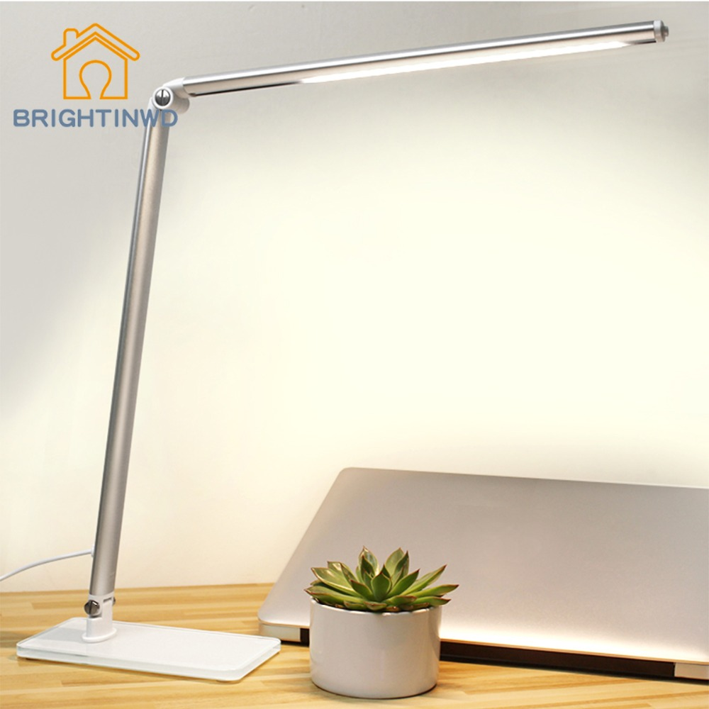 Table Lamp Modern 220v Push Button Switch Aluminum Led Desk Abajour Luminarias Office Luminaria Lamparas De Mesa