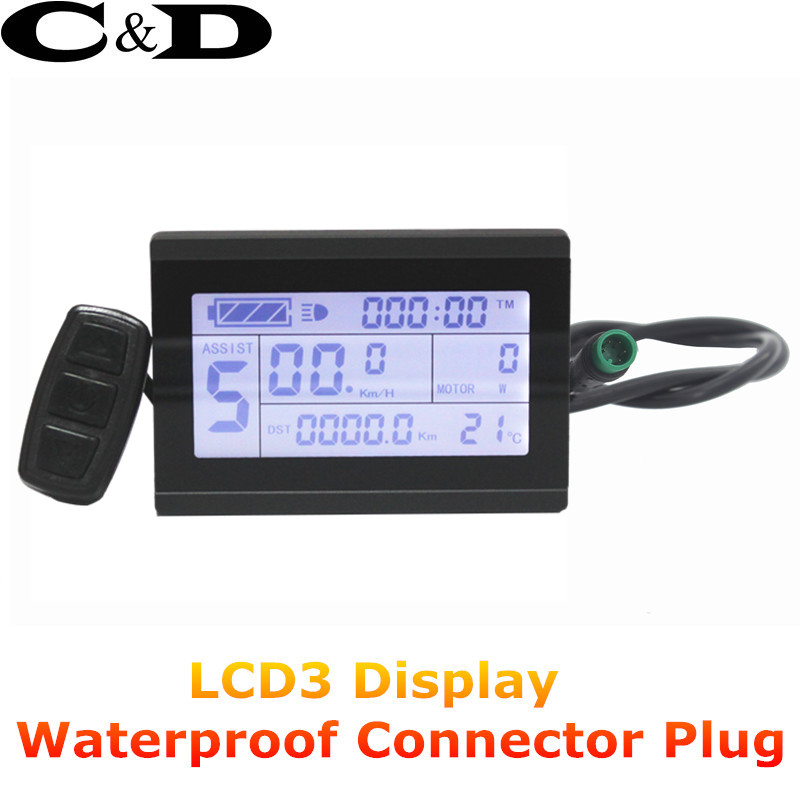 Free Shipping Waterproof Connector Plug 24V 36V 48V Display intelligent KT LCD3 Electric Bicycle bike Parts