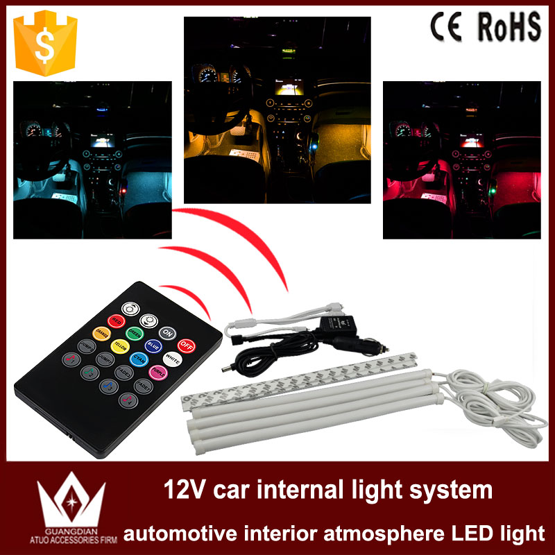 Tcart 1Set Car Auto Interior Atmosphere Strips Car LED Lighting Foot Floor Lights Voice Host With Remote Controller Decoration