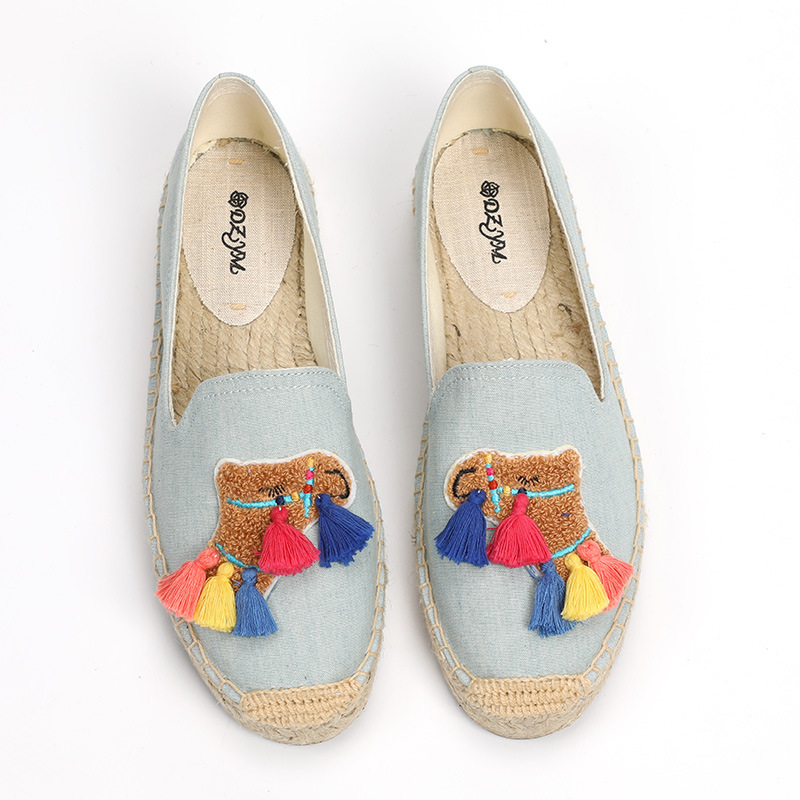 DZYM Fringed Canvas Espadrilles Straw Hemp Women Fisherman Shoes Chuzzles Flats Kawaii Design Loafers Hand made