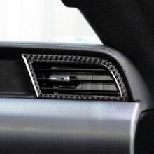 2 pcs Lateral De Fibra de Carbono Ar Condicionado Saída de Ventilação De Ar Do Carro Adesivo Da Tampa Da Guarnição Para Ford Mustang 2015 2016 2017