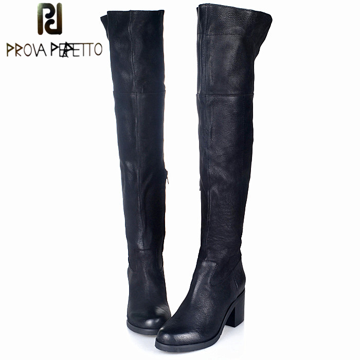 Prova Perfetto Square High Heel Thing High Boots Women Black Genuine Leather Over The Knee Motorcycle Boots Warm Winter Shoes