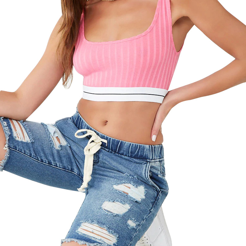 Summer Elastic Band Elastic Mid-Rise Ladies Jeans Hole Ladies Pants Casual Pants Straight Slim Women's Five-Point Jeans
