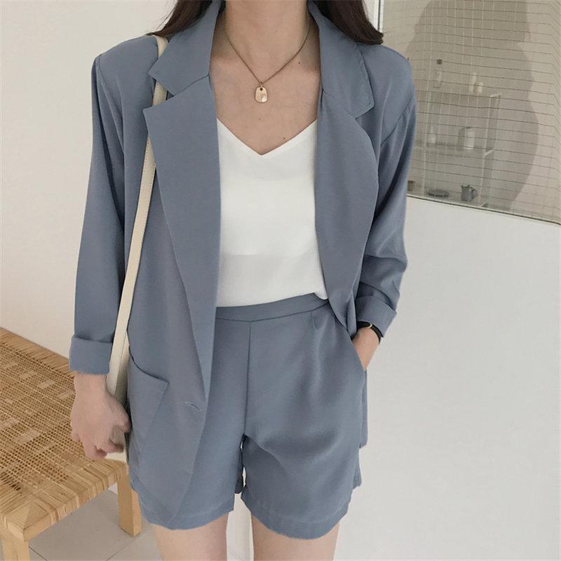 HziriP 2019 Suit Women Solid OL Summer Casual Short-sleeved Blazers+ Elastic Waist Wide Leg Shorts Fresh Set 2 Piece Set 3 Types