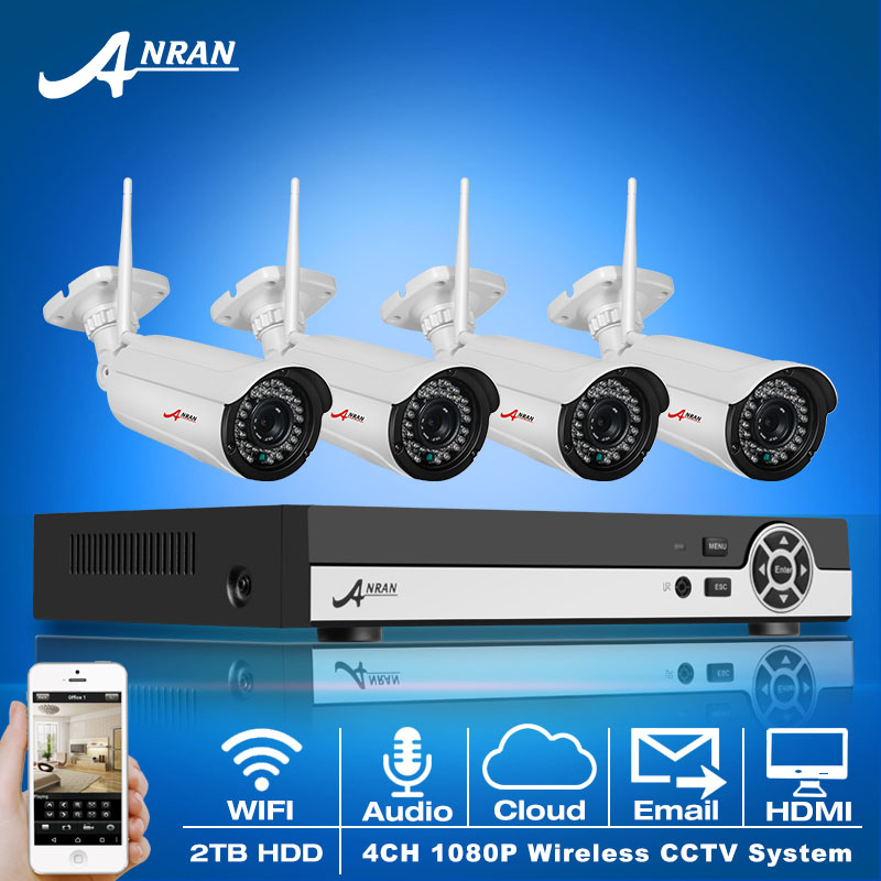Electronic Varifocal 3-10mm Zoom Lens 36IR Wireless WIFI 1080P IP Camera Audio Input 8CH H.264 NVR Network CCTV System 2TB HDD