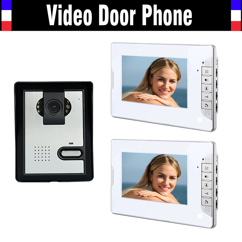 7 Inch Monitor Video Door Phone Doorbell Intercom System Video Interphone Kit Night Vision Call And Intercom 1 Camera 2 Monitor