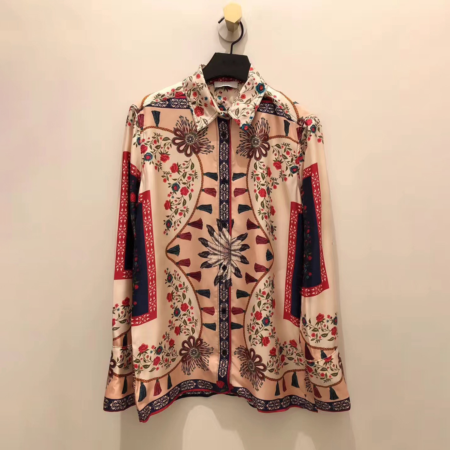 Women Shirt 2019 Spring and Summer New Products Stand Collar Casual Color Print Long Sleeve Shirt