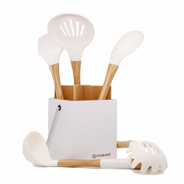 Cooking Utensil Set With Holder Beech Wood Silicone Heat Resistant Non Stick