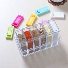 6 teile/satz Bunte Transparente Gewürzglas Würze Menage Aufbewahrungsbox Deckel mit Halten Küche Werkzeuge Salz Fall Geschenk VS039 T15 0,4