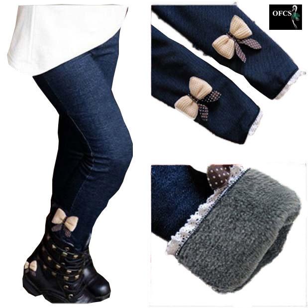 New Brand 2019 Winter Fur Girls Bow Jeans Cotton Children Cashmere Pants Kids Warm Elastic Waist Legging Wholesale And Retail 1