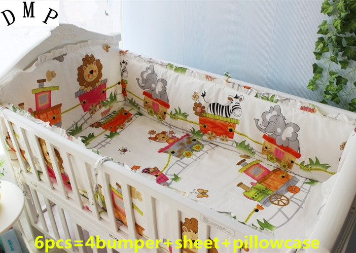 Promotion! 6PCS baby sheet baby bedding set 100% cotton baby nursery bedding, include:(bumper+sheet+pillow cover)
