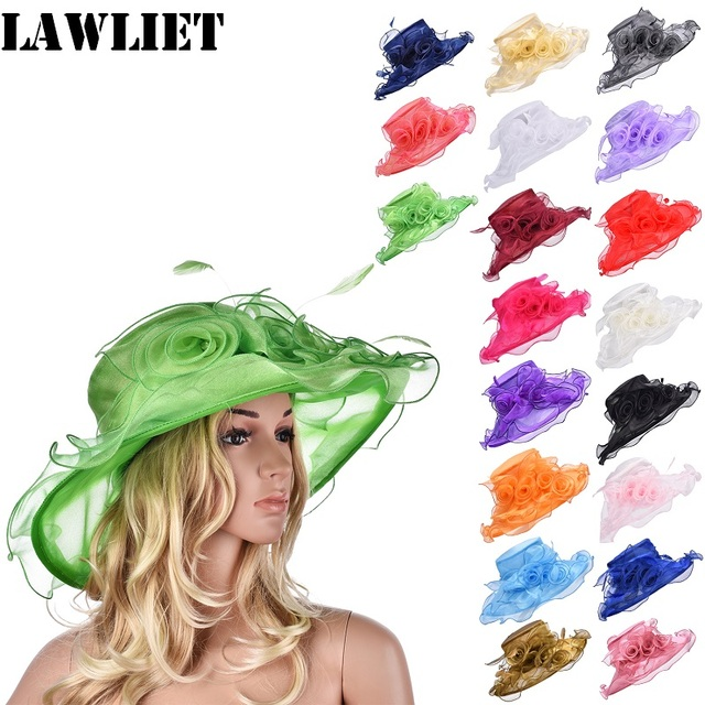 Women Organza Flower Kentucky Derby Wide Brim Sun Hat With Feather Summer Hats for Women Nice Female Wide Brim Floppy Hat A341