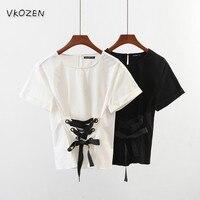 2017ファッションblusas金属穴引き分けたチュニックブラウス半袖白黒女性コルセットtシャツ夏プルオーバーシャツブランドトップ