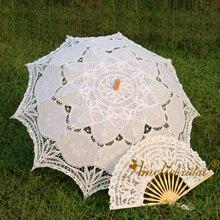 Белый экрю черный ручной работы хлопок Винтажный кружевной зонтик и кружевной веер вечерние декоративный зонтик