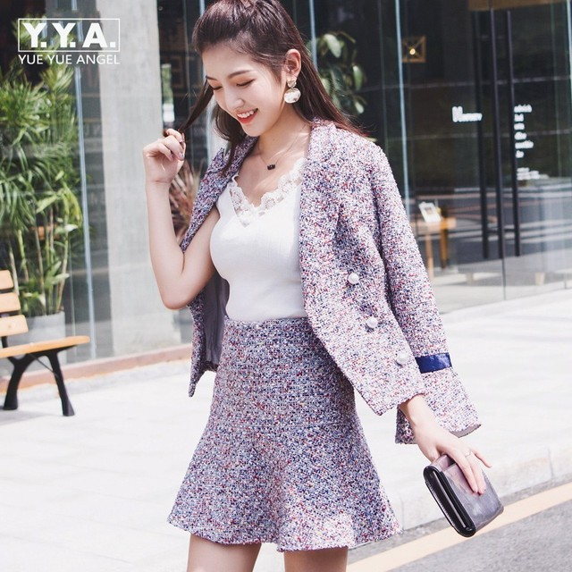 Winter Woolen Small Fragrance Set Fashion Coat + Skirt Two-Piece Female Flare Sleeve Zipper Double Breasted Jackets Plaid Sets
