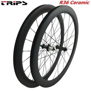 Image 1 - 38mm 50mm 60mm 88mm carbon rims 700C clincher road wheels R36 Ceramic hub tubular Basalt brake Carbon Bicycle road bike Wheelset