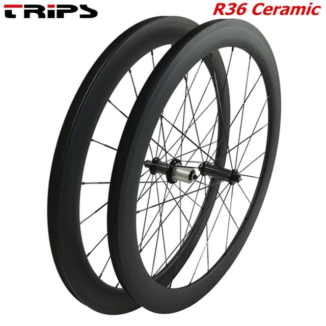 Ruedas de carbono de 38mm, 50mm, 60mm, 88mm, 700C clincher, R36, freno de basalto de eje tubular de cerámica, juego de ruedas de bicicleta de carretera