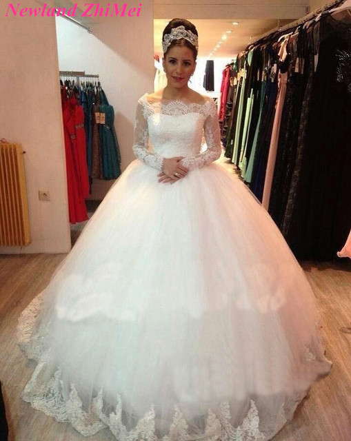 2018 Long Sleeve Lace Wedding Dress Cash On Delivery Vintage White