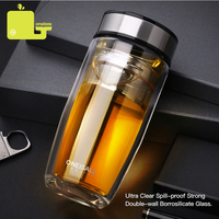ONEISALL 350ML Double Water Bottle Car Mounted Scald Proof Glass Bottle Stainless Steel Filter Tea Tumbler male