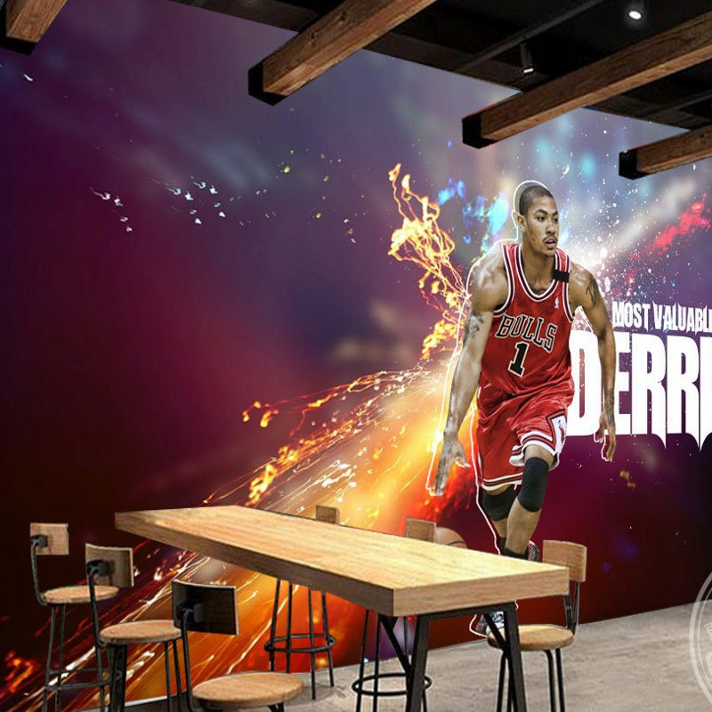 Free Shipping Creative basketball star background wall decoration painting stereo bedroom mural high quality office wallpaper  free shipping basketball function restaurant background wall waterproof high quality stereo bedroom living room mural wallpaper
