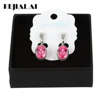 Women Jewelry Crystal Drop Earrings Silver Plated Colorful Big Long Earrings Egg Shape Dangling Earring for Wedding Party Gift