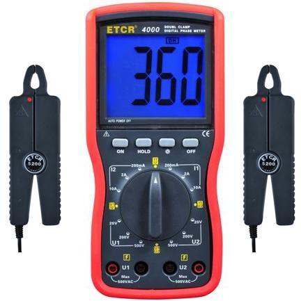 ETCR4000 AC huidige Digitale Dubbele Klem Fase Meter voltammeter