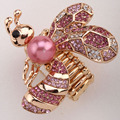 Bee stretch ring for women antique gold silver plated W crystal summer jewelry charm wholesale dropship E