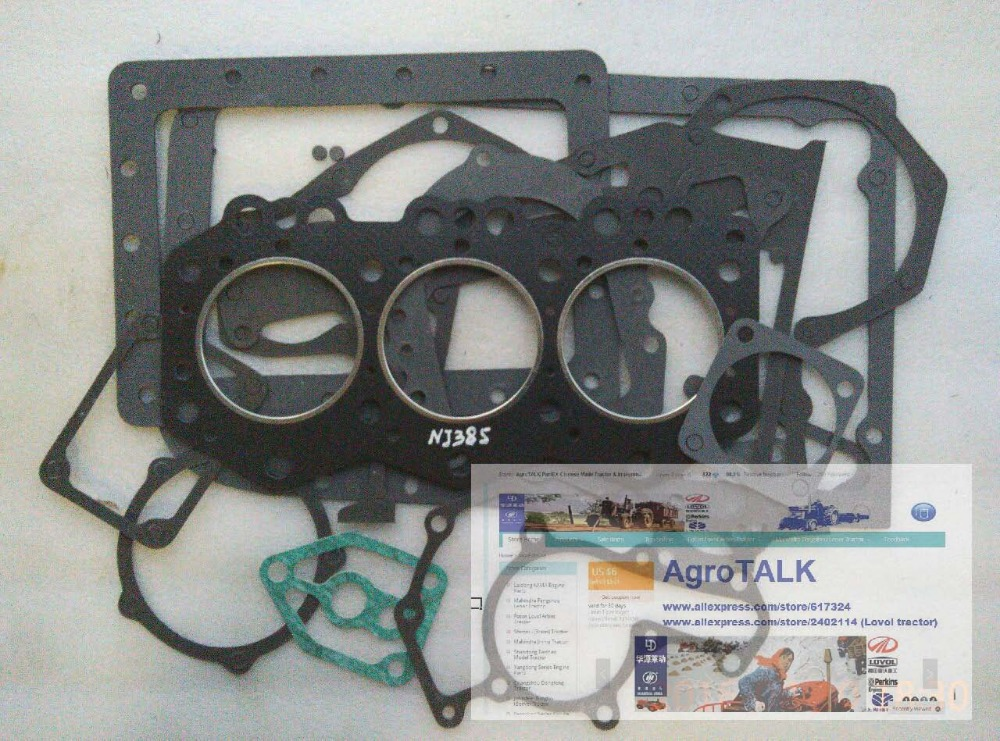 Lenar 254 274 tractor parts, the set of gasket kit for engine NJ385 laidong km4l23bt for tractor like luzhong series set of piston groups with gaskets kit including the cylinder head gasket