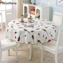 Pastoral PVC Waterproof Round Table Cloth Size 150/180cm Floral Plaid Thicken Home Decoration Tablecloth mesa toalha de tapetes(China)