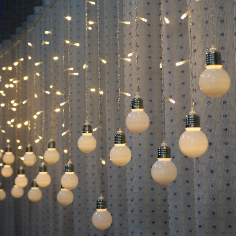 Feimefeiyou 3.5M 96 LED Bulb Light String Romantic Fairy Lights String Curtain Lights For Holiday Wedding Party Curtain Decora
