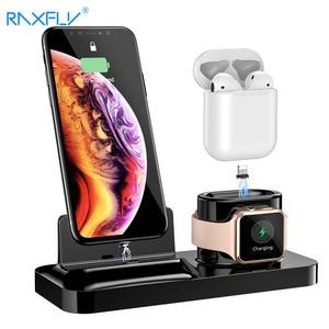 Image 1 - Porta celular raxfly 3 em 1, suporte para carregamento para iphone xs max x, estação de carga para air pods e apple relógio magnético de carregamento