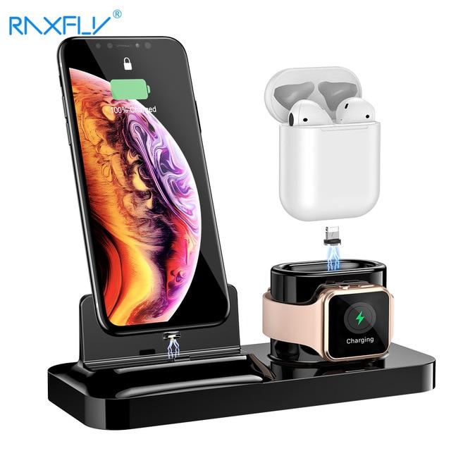 Porta celular raxfly 3 em 1, suporte para carregamento para iphone xs max x, estação de carga para air pods e apple relógio magnético de carregamento