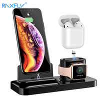RAXFLY 3 in 1 Phone Charging Holder Stand For iPhone XS Max X Charger Docking Station For Air Pods Apple Watch Magnetic Charging
