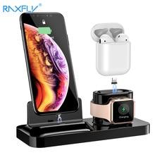RAXFLY 3 in 1 telefon şarj tutucu standı iPhone XS için Max X şarj cihazı yerleştirme İstasyonu hava podlar için Apple izle manyetik şarj