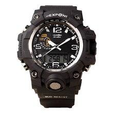 Sport Reloj Militar Hombres Marca EXPONI Moda A Prueba De Agua Relojes de Los Hombres de Choque LED de Cuarzo Analógico Digital Reloj del relogio masculino