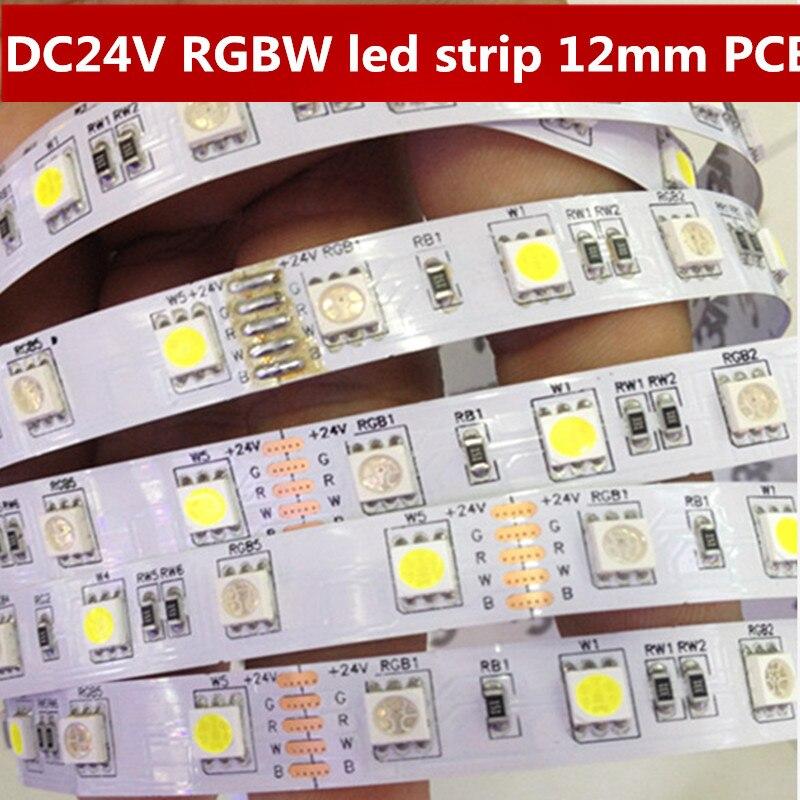 DC24V RGBW ledstrålkastare 5050 SMD 12mm PCB RGBWW 5M 60leds / m LED - LED-belysning