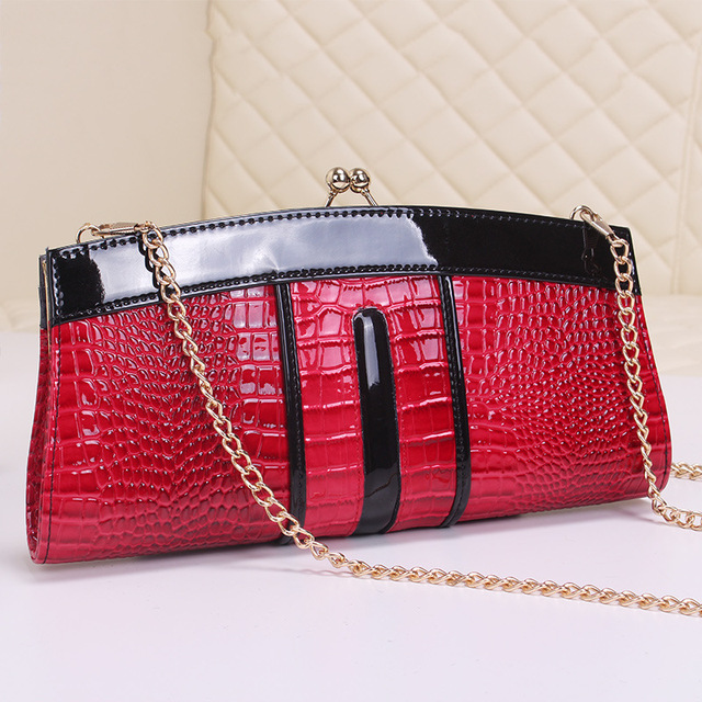 2016 Socialite Genuine Leather Women Alligator Hasp Cowhide Hobos Casual Clutch Shoulder Messenger Lady Bags Chains Evening Bag