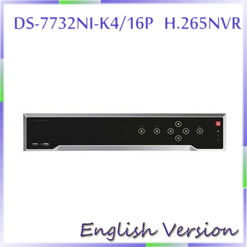 Free Shipping DS 7732NI K4 16P English Version 32CH NVR With 4SATA 4K NVR Up To