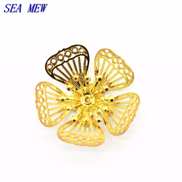 SEA MEW 10PCS Copper 26mm 22mm Flowers Base Filigree Hollow Out Flowers Bead Caps Silver Gold Color Charm For Jewelry Making